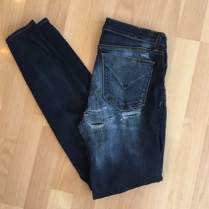 Hudson Womens Dark Denim Stretch Distressed Jeans